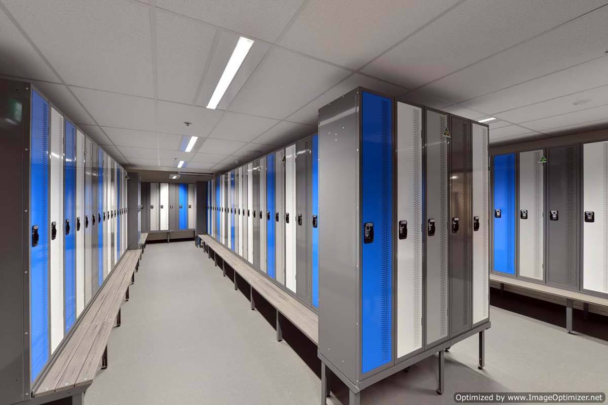 Comtemporary locker blue and silver in a modern building