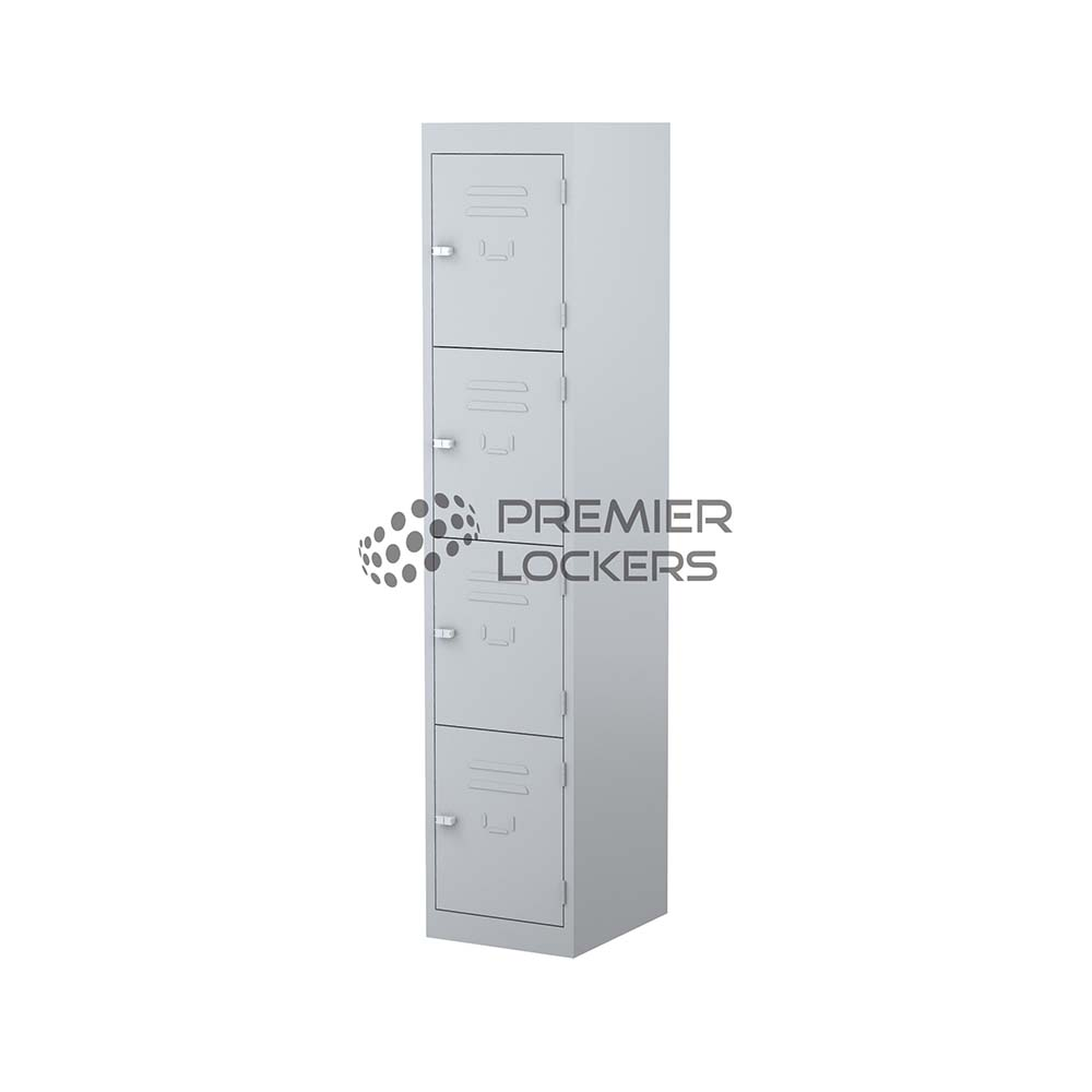 grey metal four door locker on white background