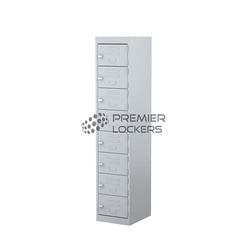 Silver eight door locker on white background