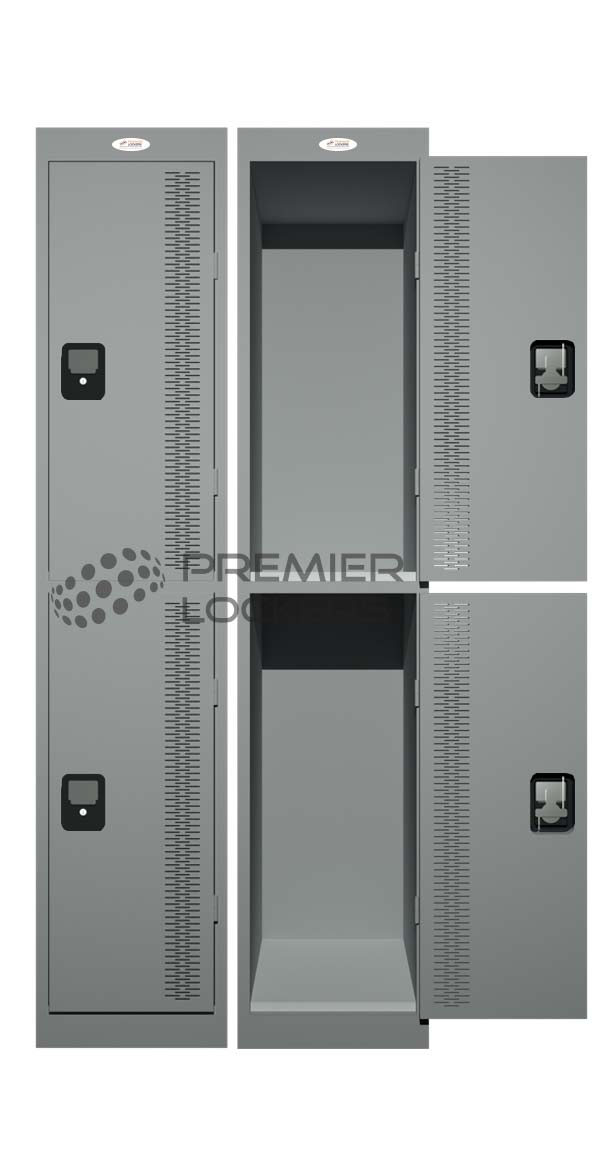 Backpack locker silver grey open on white background