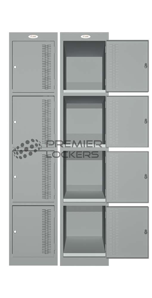 bowls club lockers siver grey open on white background