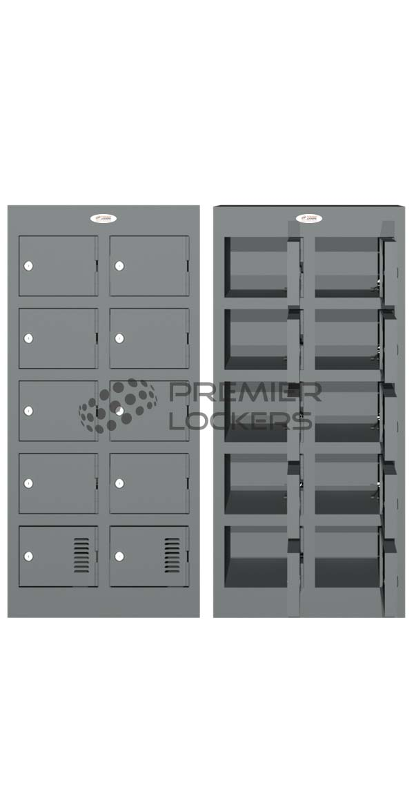 Charging mobile phone locker silver satin open on white background