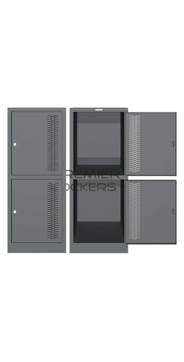 Half Height Locker Silver Satin Open on white background