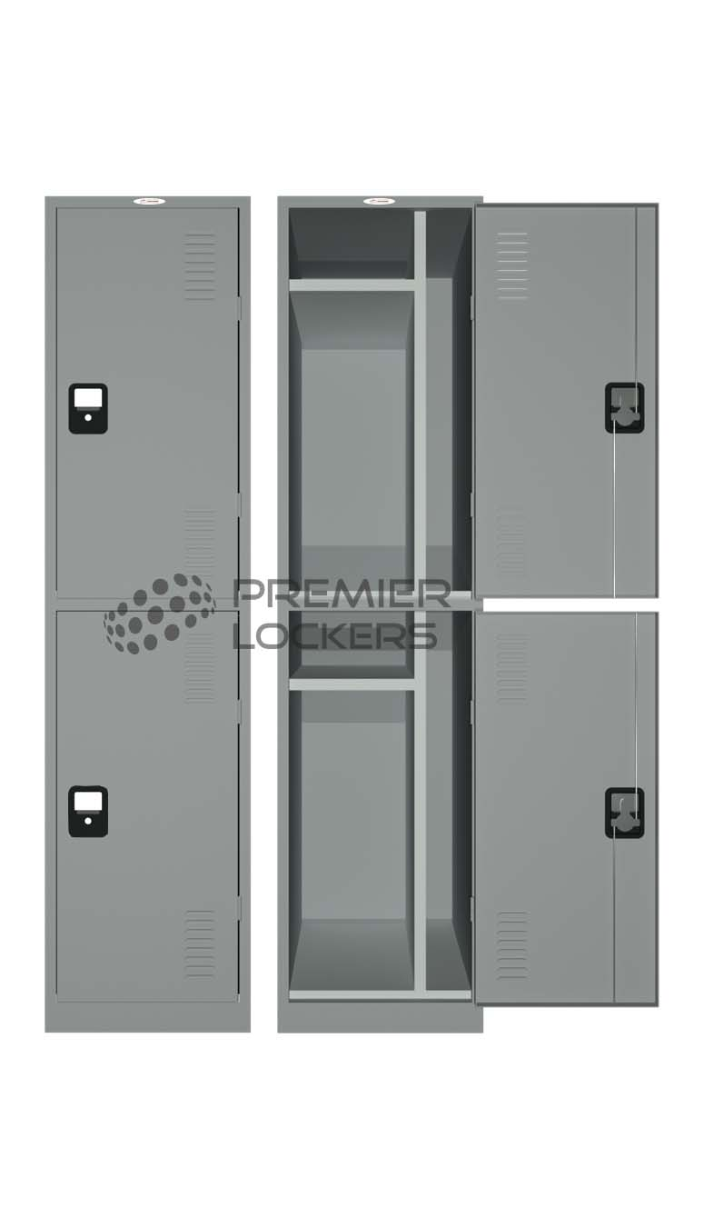 Silver grey heavy duty school locker open on white background