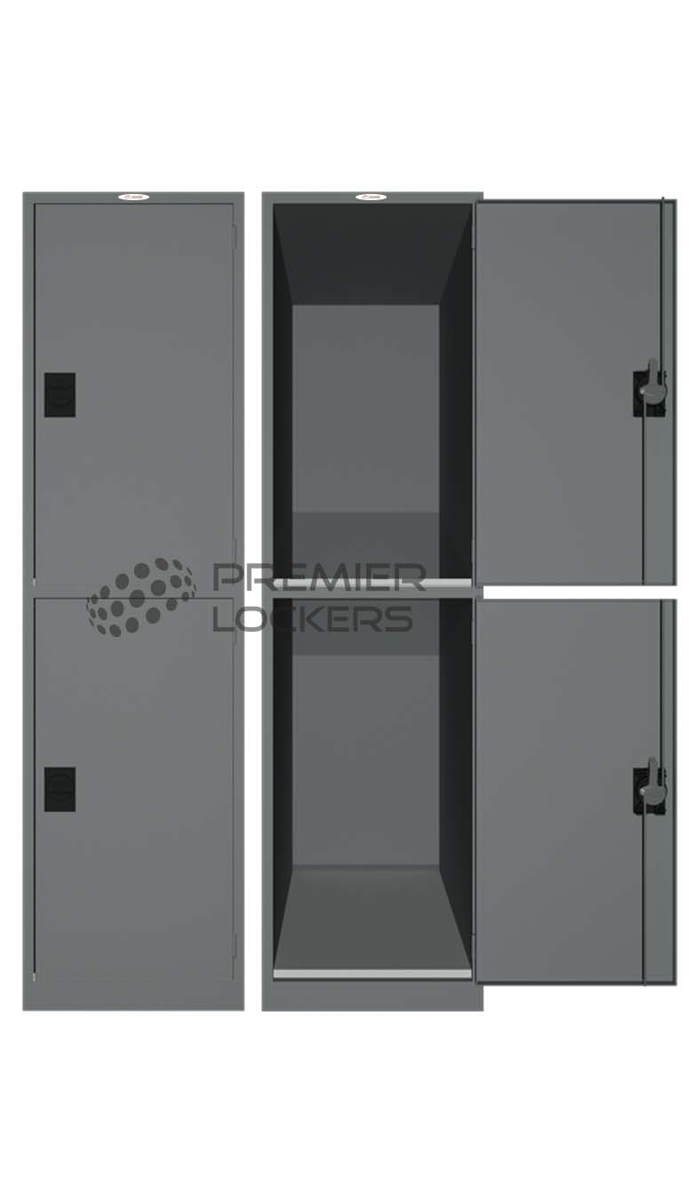 Luggage locker silver satin open on white background
