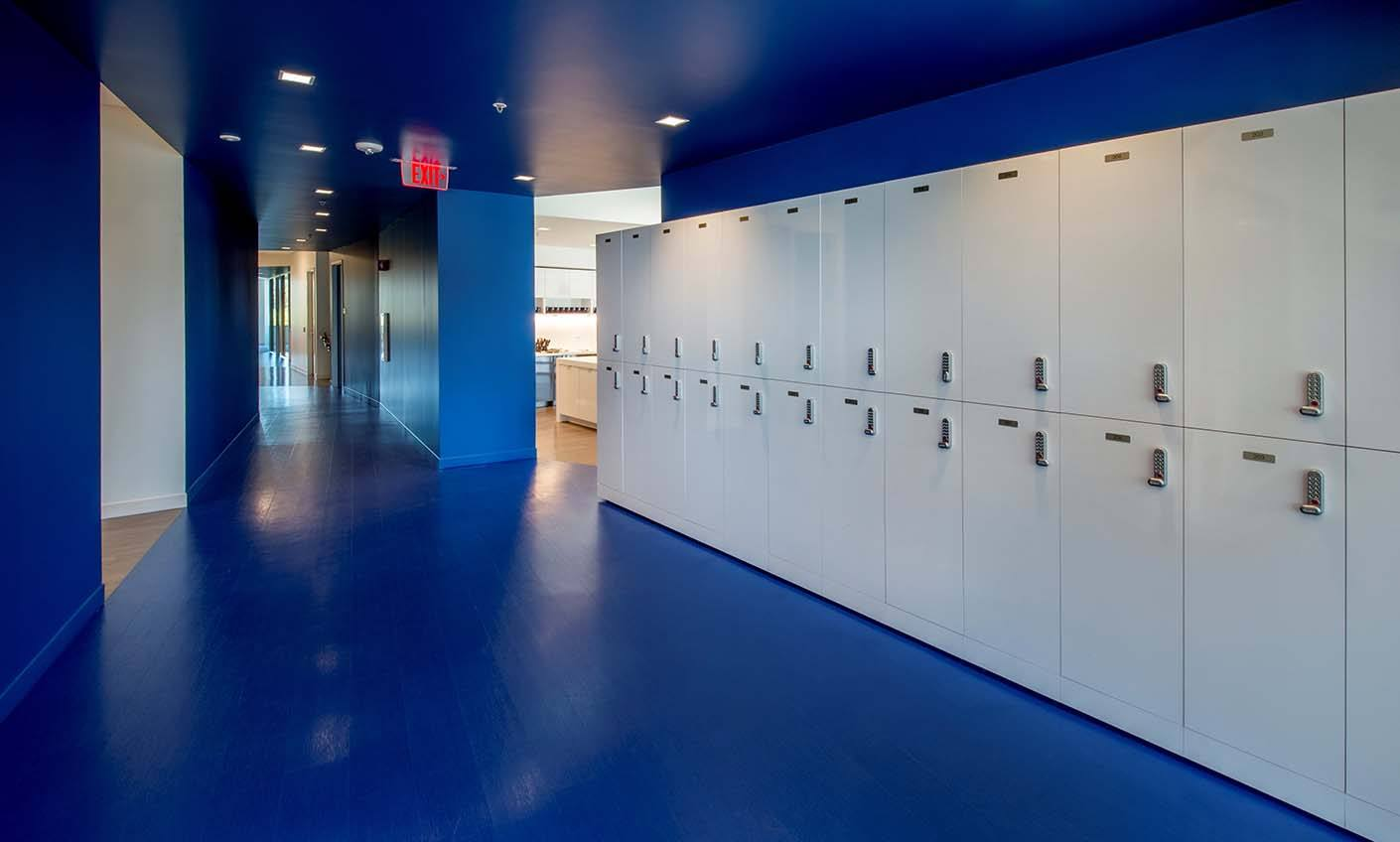 white metal lockers in blue building