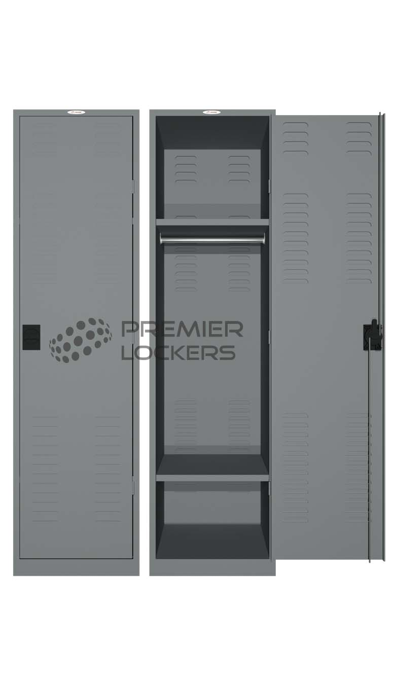 Services locker silver satin open on white background